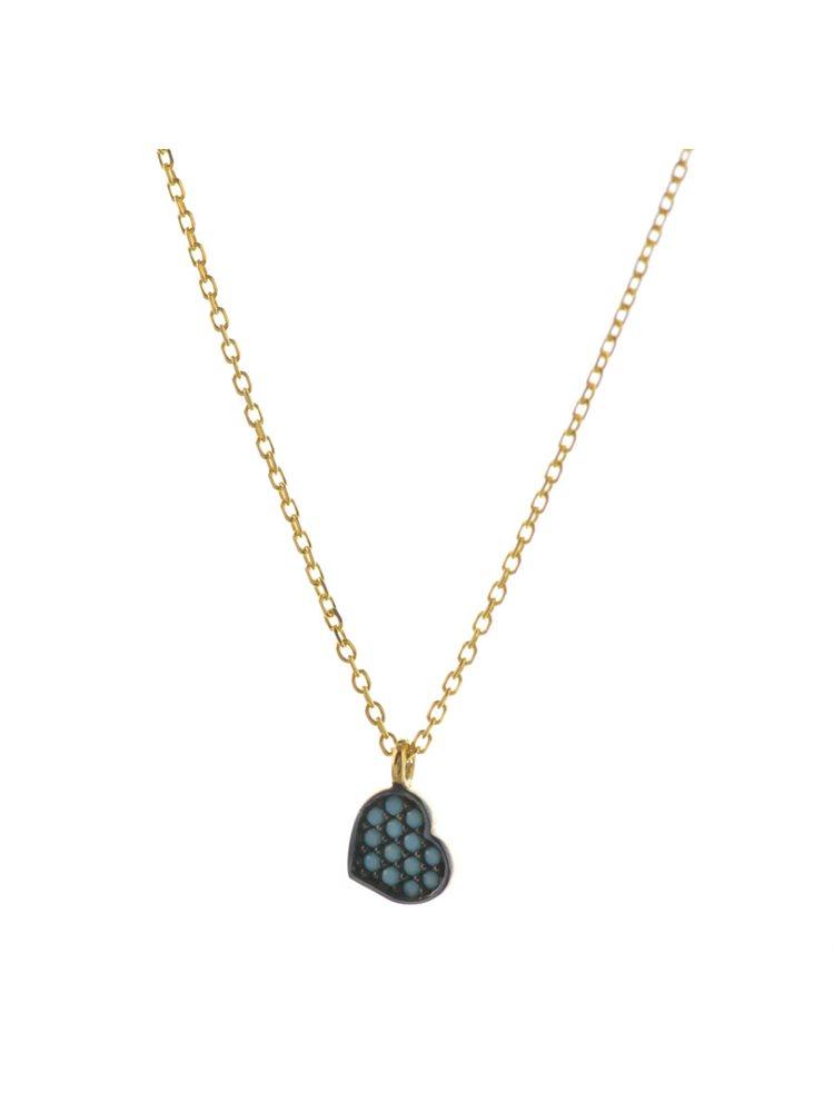 Κολιέ καρδιά από επιχρυσωμένο ασήμι με πέτρες τυρκουάζ