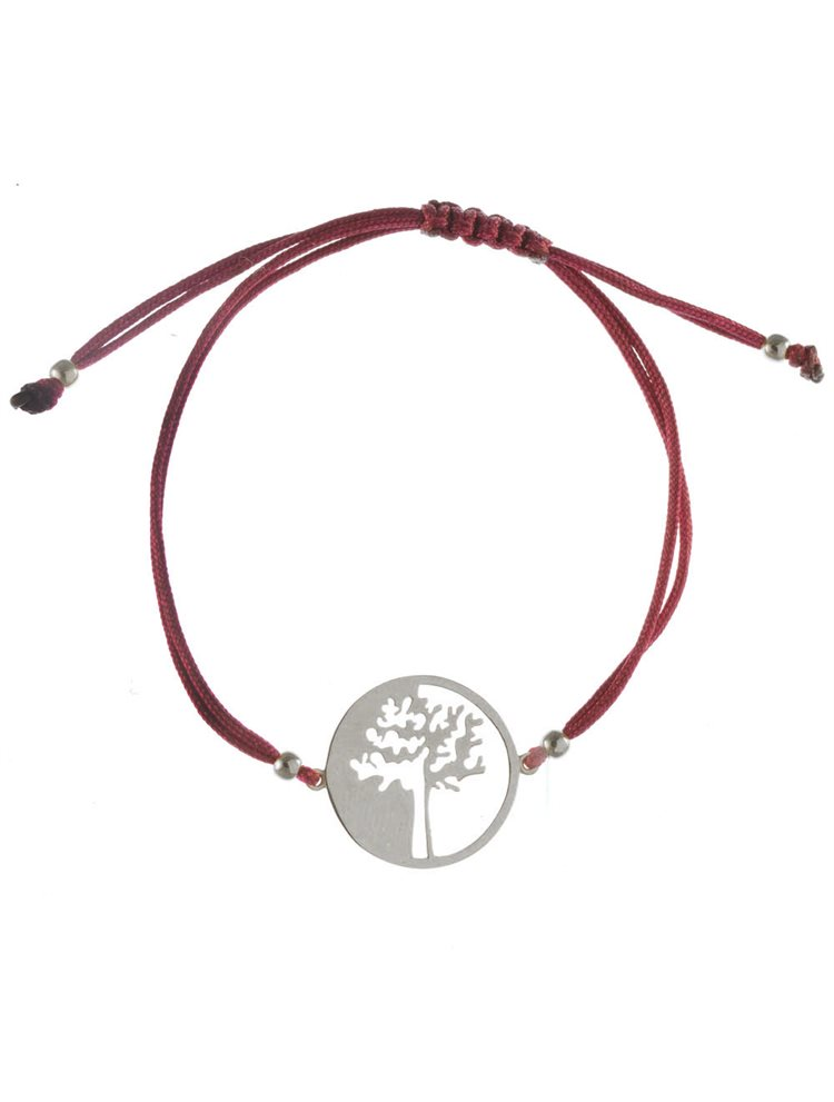 Χειροποίητο βραχιόλι με κορδόνι σε σχέδιο δέντρο ζωής από ασήμι