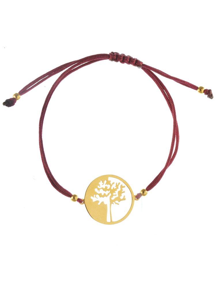Χειροποίητο βραχιόλι με κορδόνι σε σχέδιο δέντρο ζωής από επιχρυσωμένο ασήμι