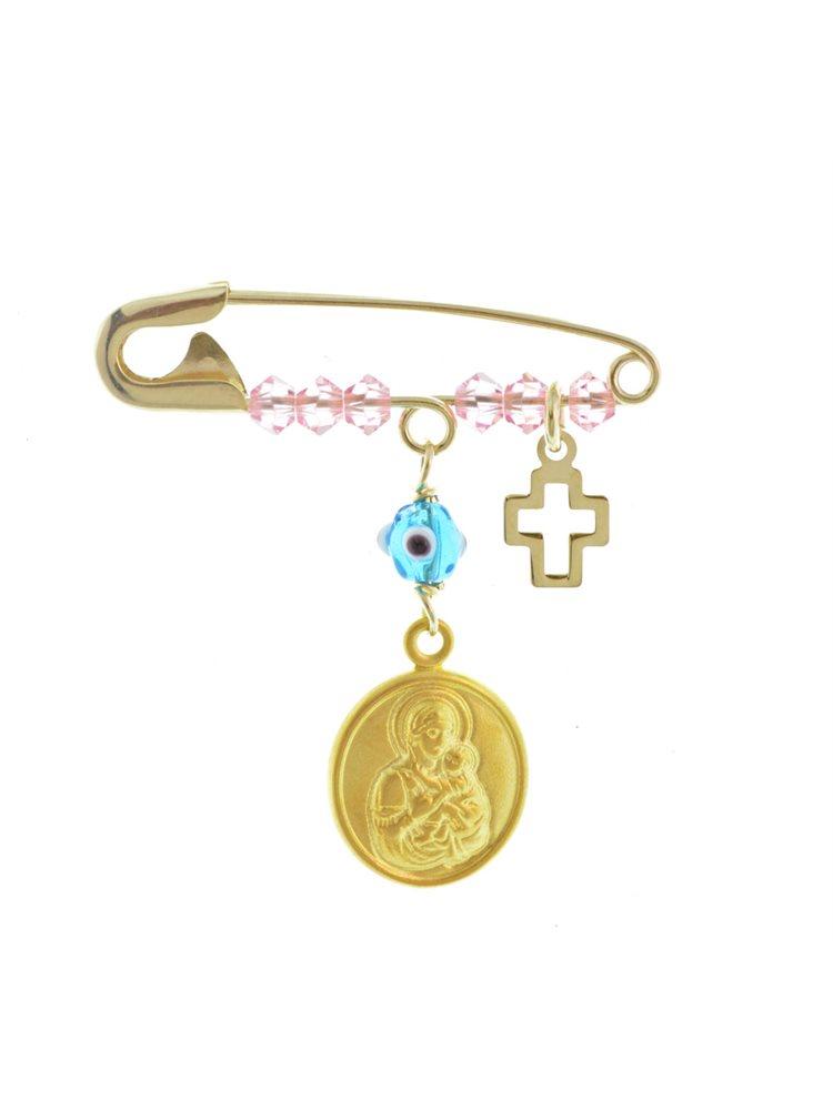 Παραμάνα σε χρυσό K9 με κρεμαστά φυλαχτά στοιχεία