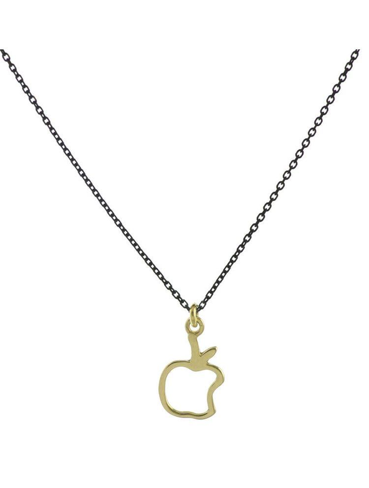 Μοντέρνο κολιέ μήλο από επιχρυσωμένο ασήμι και με μαύρη πλατινωμένο από ασήμι αλυσίδα