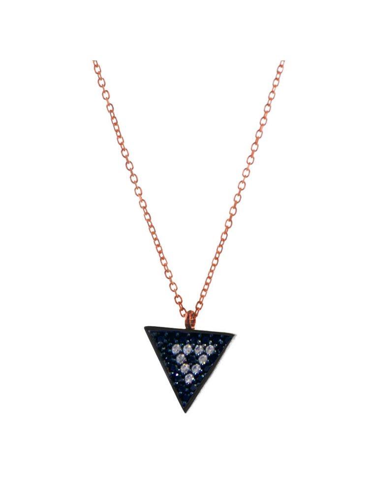Κολιέ τρίγωνο από ρόζ επιχρυσωμένο ασήμι με πέτρες ζιργκόν large μέγεθος