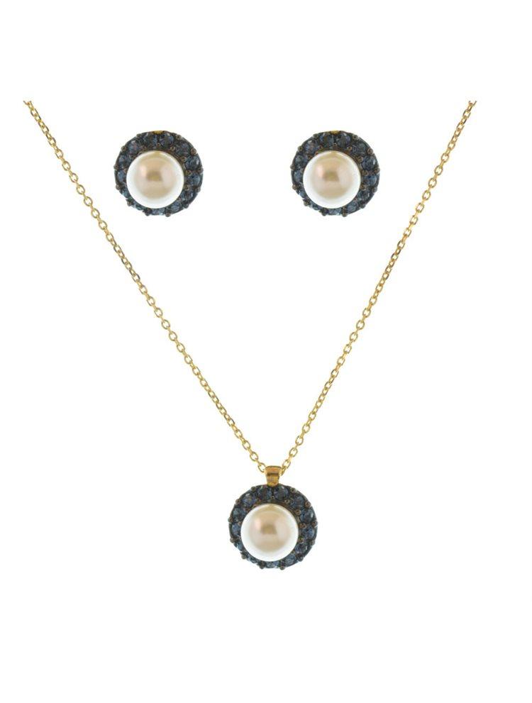 Σέτ Swarovski κολιέ μαζί με σκουλαρίκια από πέτρες swarovski σε επιχρυσωμένο ασήμι 925