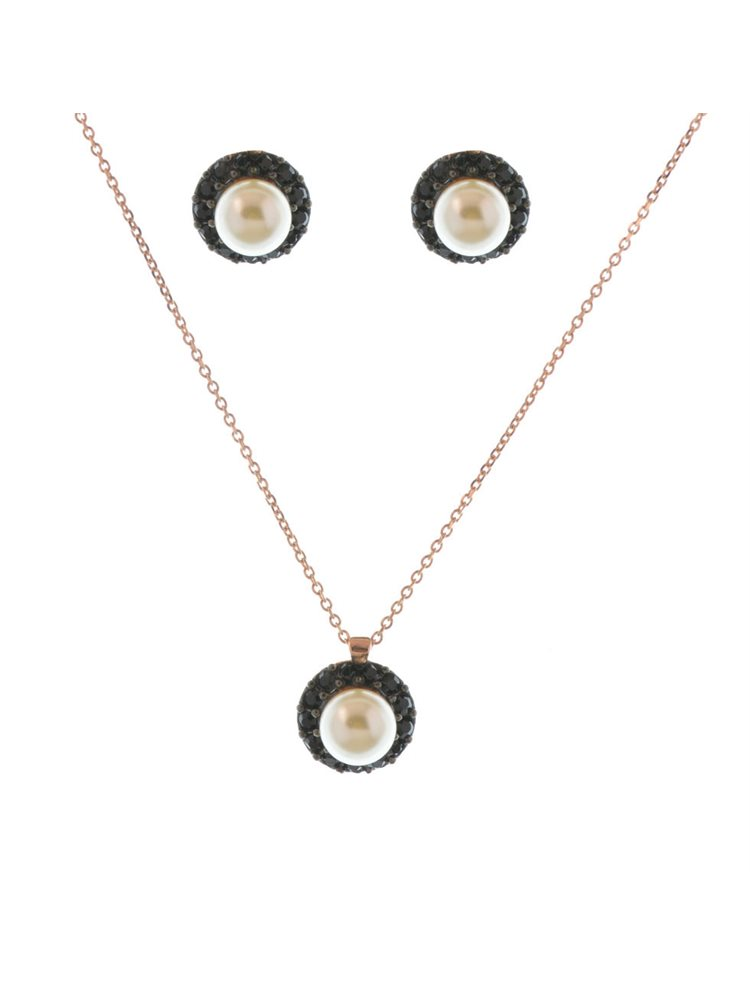 Σέτ Swarovski κολιέ μαζί με σκουλαρίκια από πέτρες swarovski σε ρόζ επιχρυσωμένο ασήμι 925 και με πέρλα