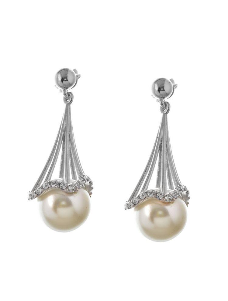 Σκουλαρίκια κρεμαστά από ασήμι με μαργαριτάρι και πέτρες swarovski