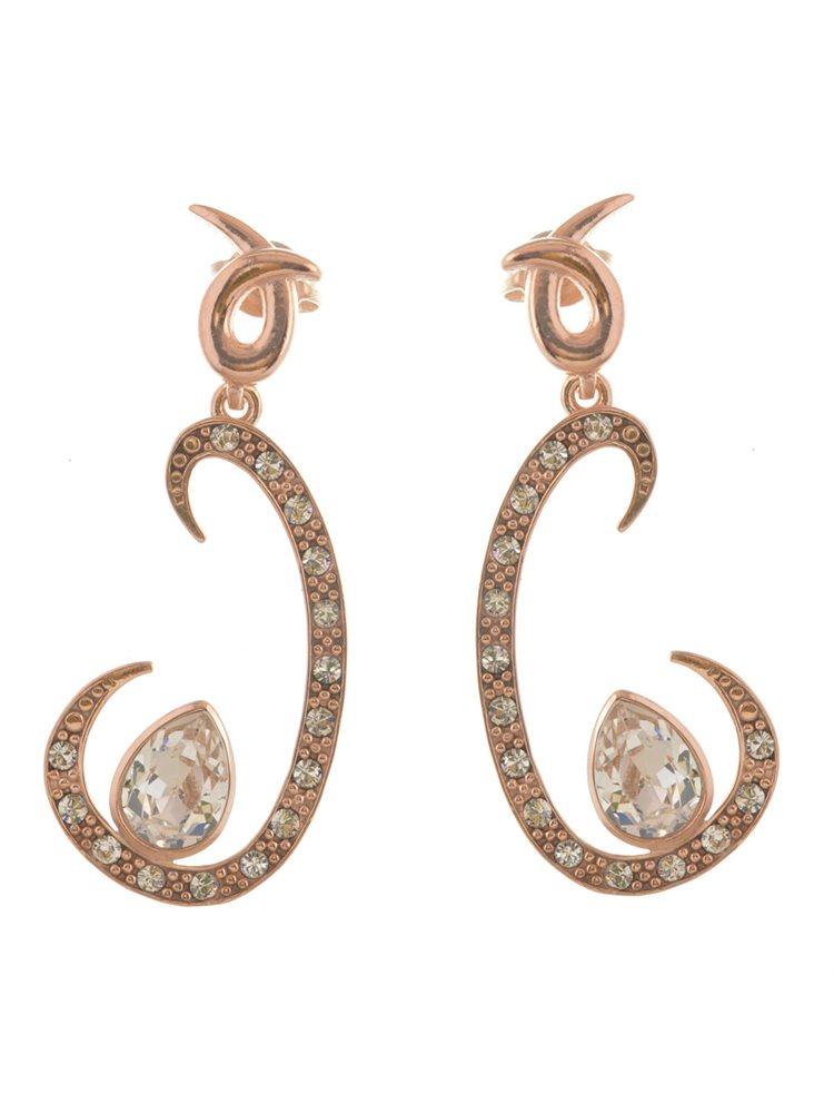 Εντυπωσιακά μακριά σκουλαρίκια από ρόζ επιχρυσωμένο ασήμι με πέτρες swarovski