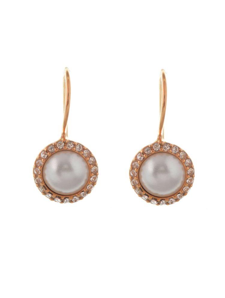 Σκουλαρίκια κρεμαστά από ρόζ επιχρυσωμένο ασήμι με μαργαριτάρι και πέτρες swarovski