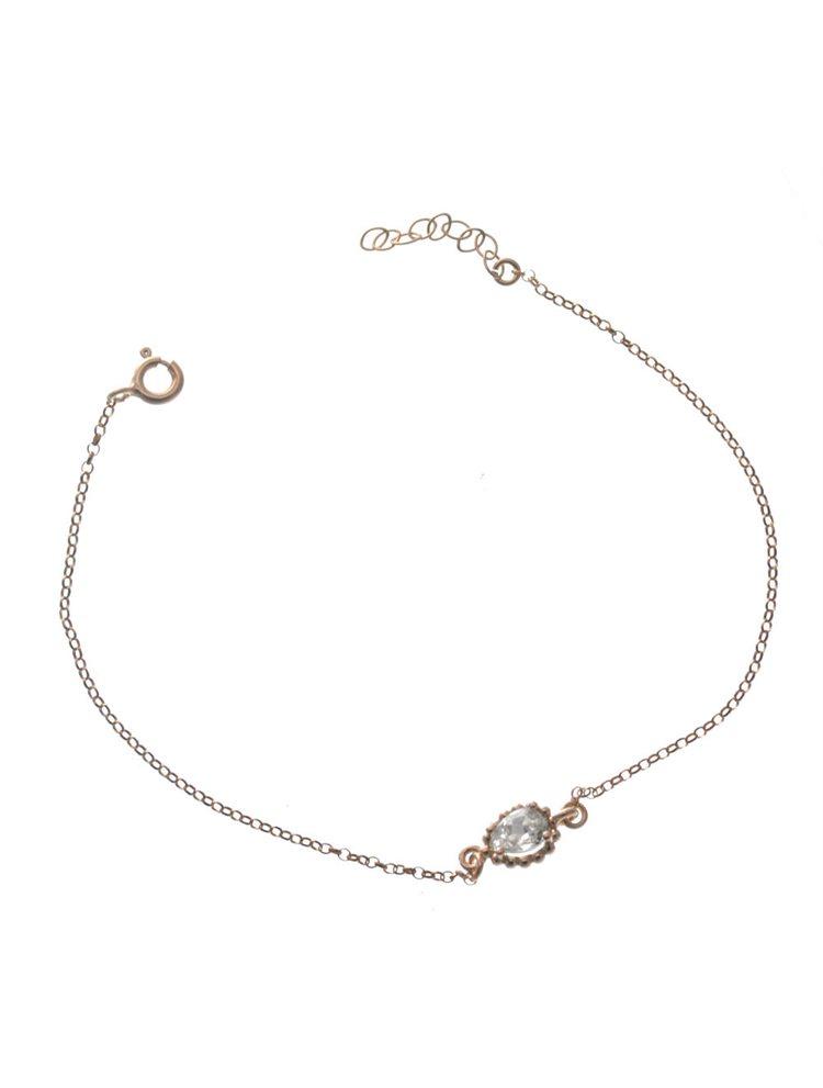 Βραχιόλι διακριτικό με πέτρα swarovski σε ρόζ επιχρυσωμένο ασήμι