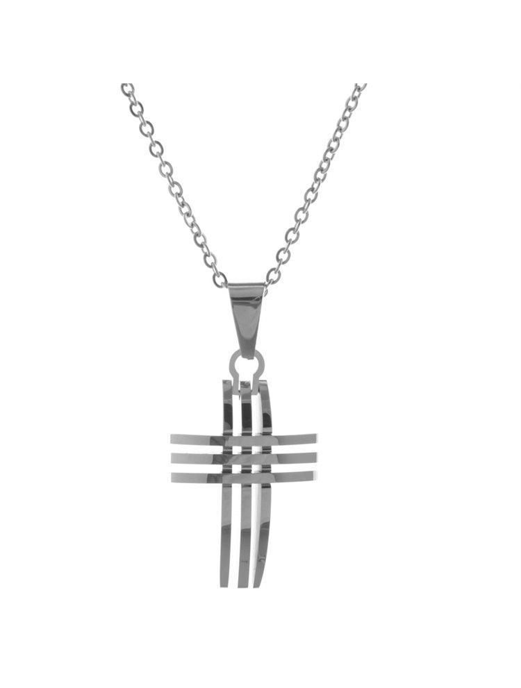 Ανδρικό κολιέ με σταυρό από ανοξείδωτο ατσάλι