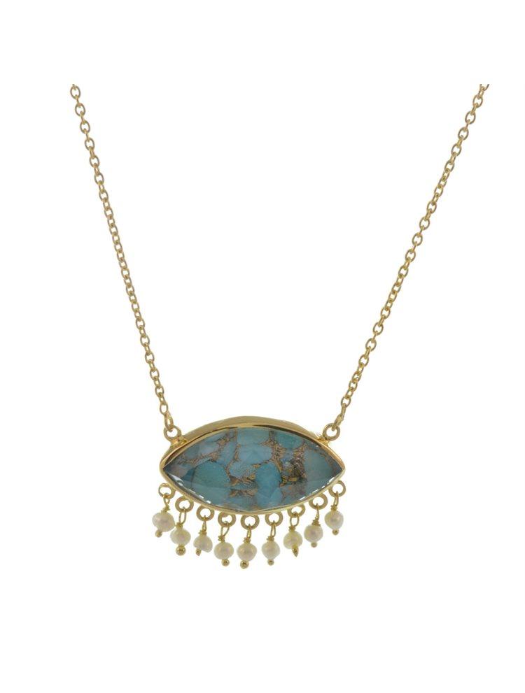 Εντυπωσιακό κολιέ από επιχρυσωμένο ασήμι με γνήσια πέτρα τυρκουάζ και μαργαριτάρια