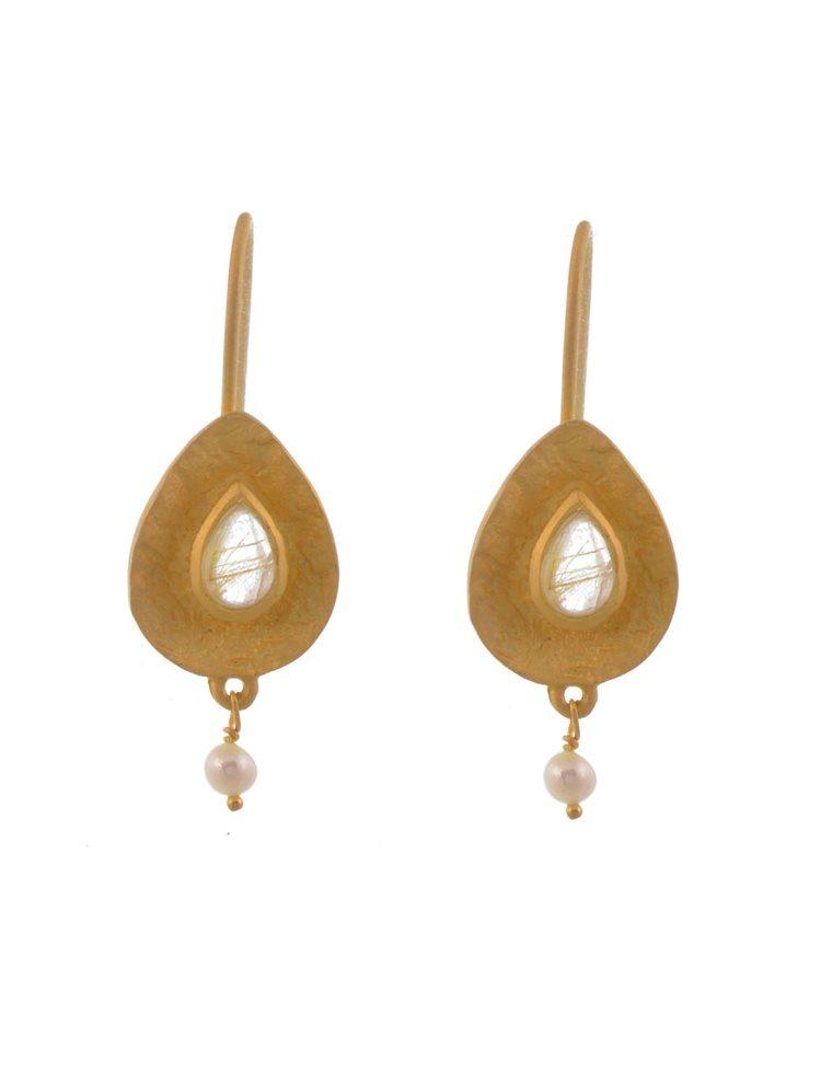 Σκουλαρίκια από επιχρυσωμένο ασήμι με χρυσόλιθο και μαργαριταράκι