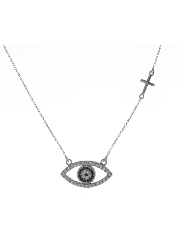 Κολιέ μάτι από ασήμι με πέτρες ζιργκόν και σταυρό στο πλάι