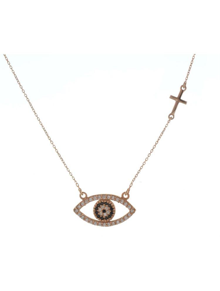 Κολιέ μάτι από ρόζ επιχρυσωμένο ασήμι με πέτρες ζιργκόν και σταυρό στο πλάι