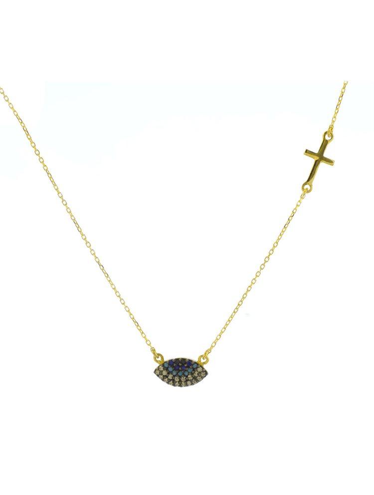 Κολιέ μάτι από επιχρυσωμένο ασήμι με πέτρες ζιργκόν με σταυρό στο πλάι