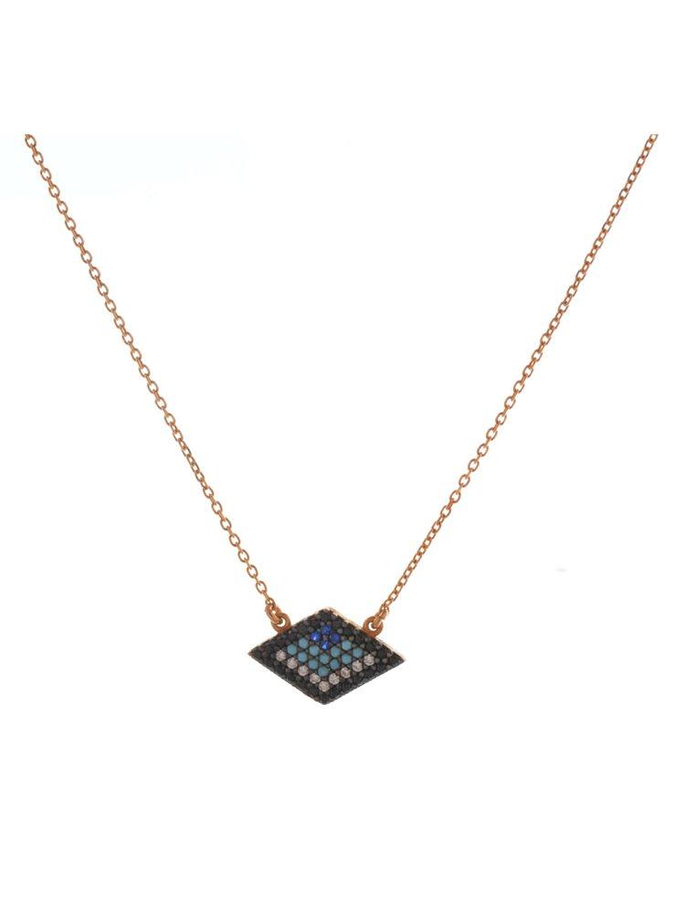 Κολιέ τρίγωνο μάτι από ρόζ επιχρυσωμένο ασήμι με πέτρες ζιργκόν