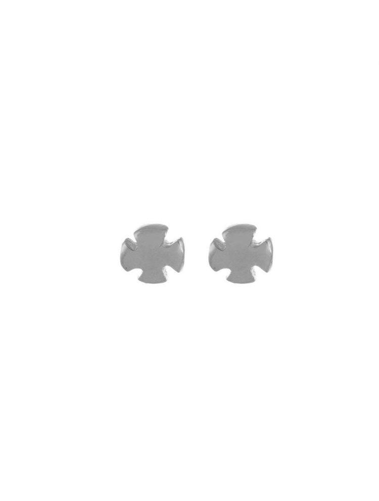 Σκουλαρίκια διακριτικά σταυρουδάκια από ασήμι