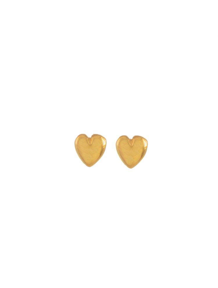 Σκουλαρίκια διακριτικές καρδούλες από επιχρυσωμένο ασήμι