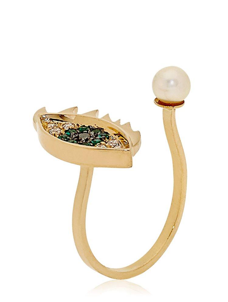 Δαχτυλίδι από επιχρυσωμένο ασήμι μάτι με μαργαριτάρι