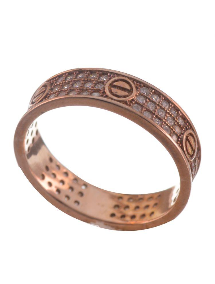 Ασημένιο βεράκι από ρόζ επιχρυσωμένο ασήμι με πέτρες ζιργκόν