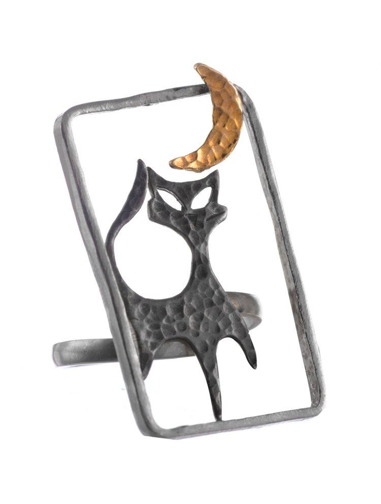 Χειροποίητο δαχτυλίδι γάτα με φεγγάρι από ασήμι