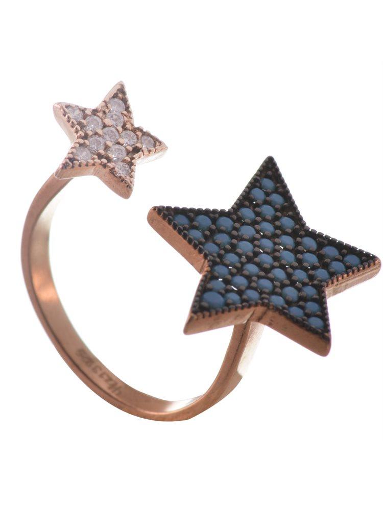 Δαχτυλίδι από ρόζ επιχρυσωμένο ασήμι με πέτρες τυρκουάζ και ζιργκόν