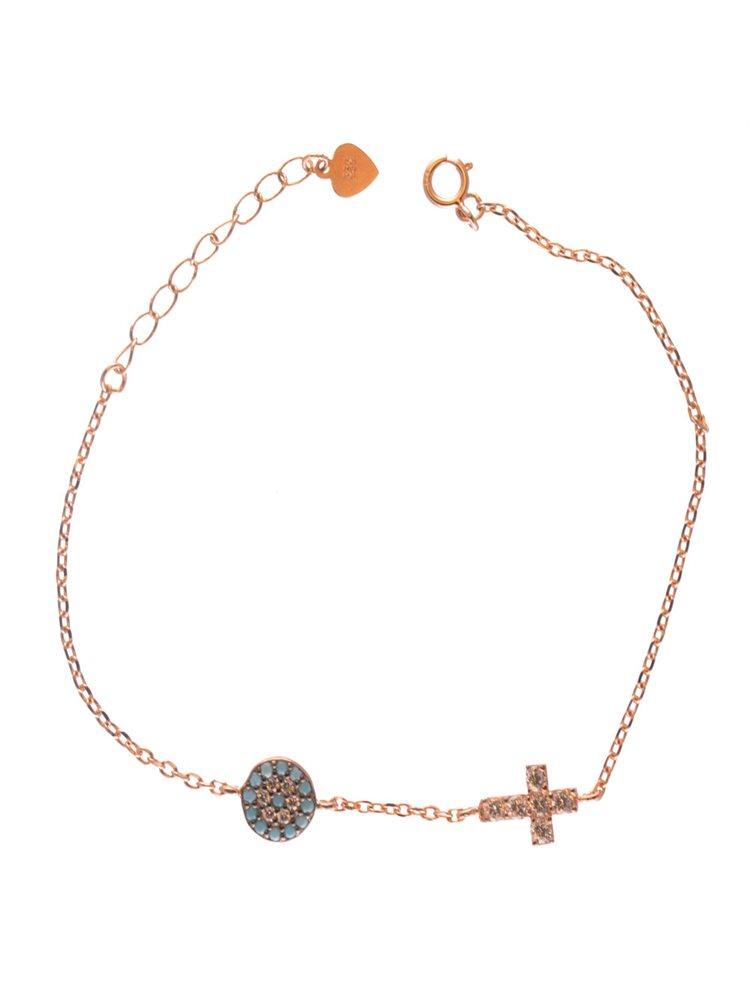 Βραχιόλι από ρόζ επιχρυσωμένο ασήμι με στόχο μάτι και σταυρό με πέτρες ζιργκόν