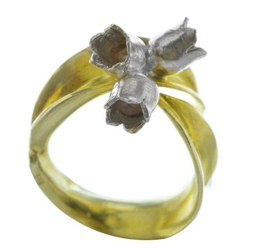 Δαχτυλίδι λουλούδια χειροποίητο από επιχρυσωμένο ασήμι