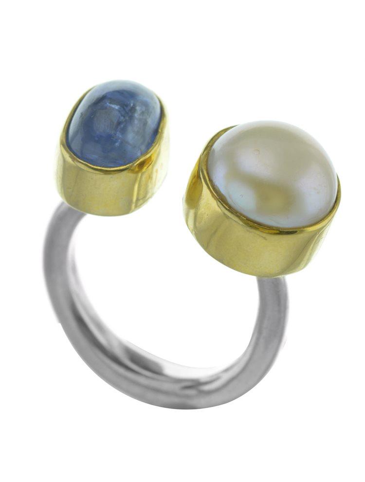 Δαχτυλίδι από ασήμι με μαργαριτάρι και πέτρα χαλαζία