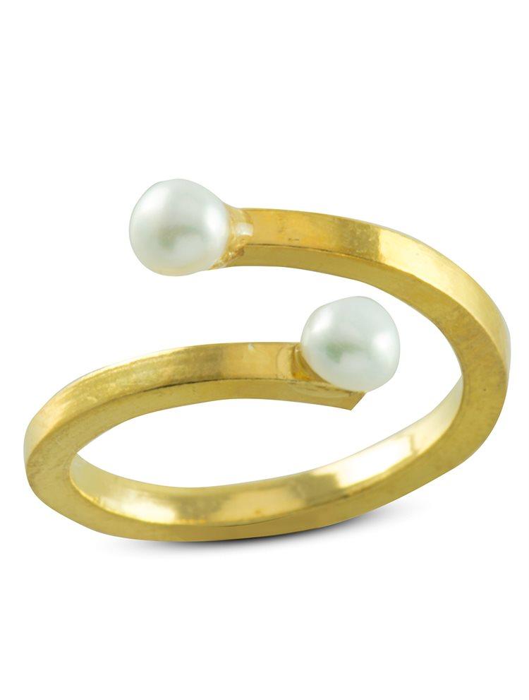 Δαχτυλίδι χειροποίητο από επιχρυσωμένο ασήμι και μαργαριτάρι