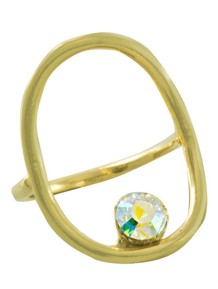 Δαχτυλίδι χειροποίητο από επιχρυσωμένο ασήμι και πέτρα Swarovski
