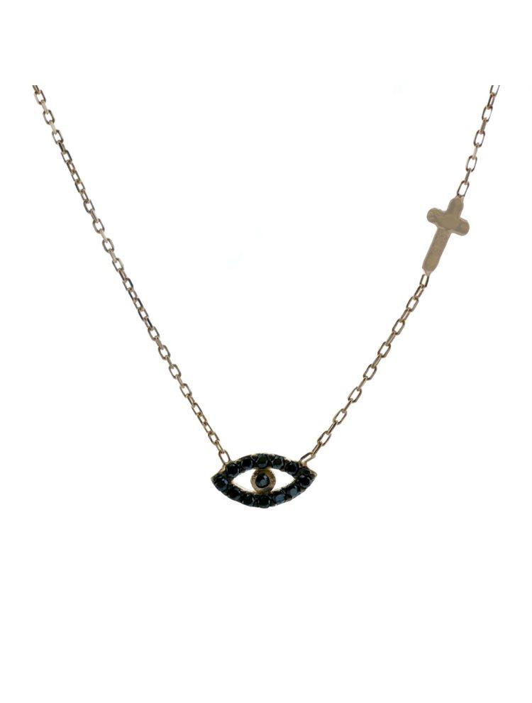 Κολιέ μάτι και σταυρό στο πλάι από ρόζ επιχρυσωμένο ασήμι με πέτρες ζιργκόν