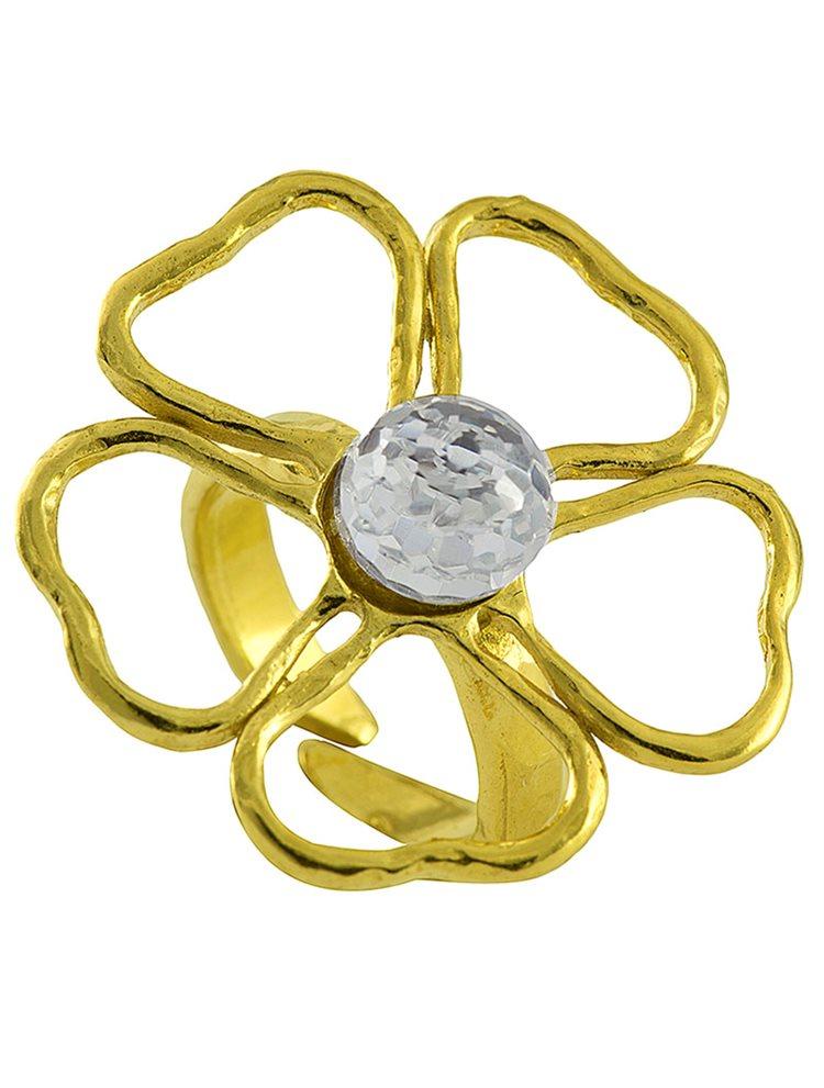 Δαχτυλίδι ασημένιο 925 επίχρυσο με πέτρα Swarovski - Λουλούδι