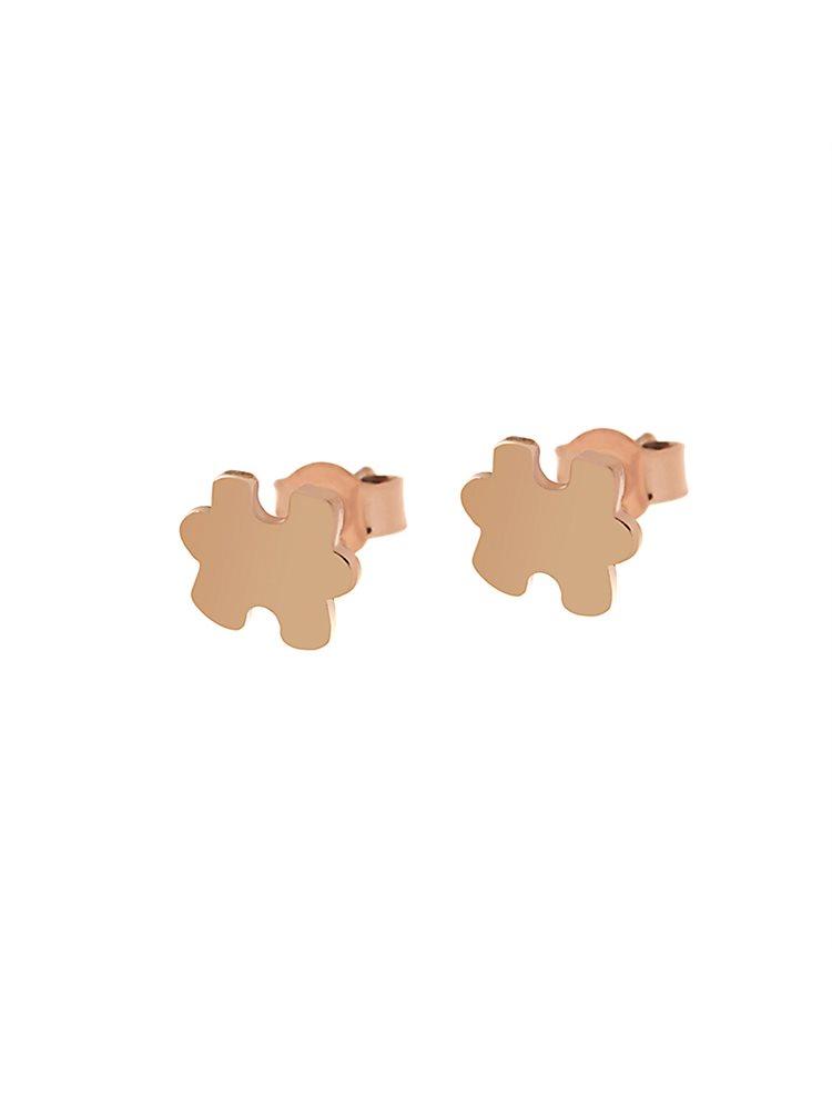 Σκουλαρίκια puzzle από ρόζ επιχρυσωμένο ασήμι