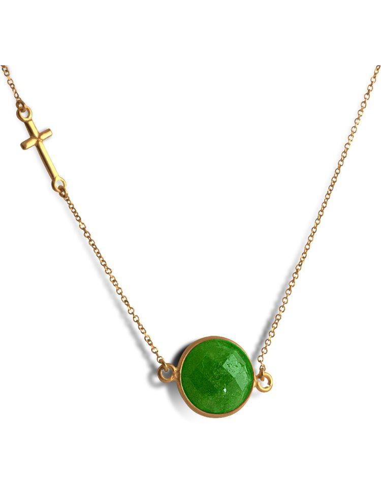 Κολιέ από επιχρυσωμένο ασήμι με ορυκτό σμαράγδι και σταυρό