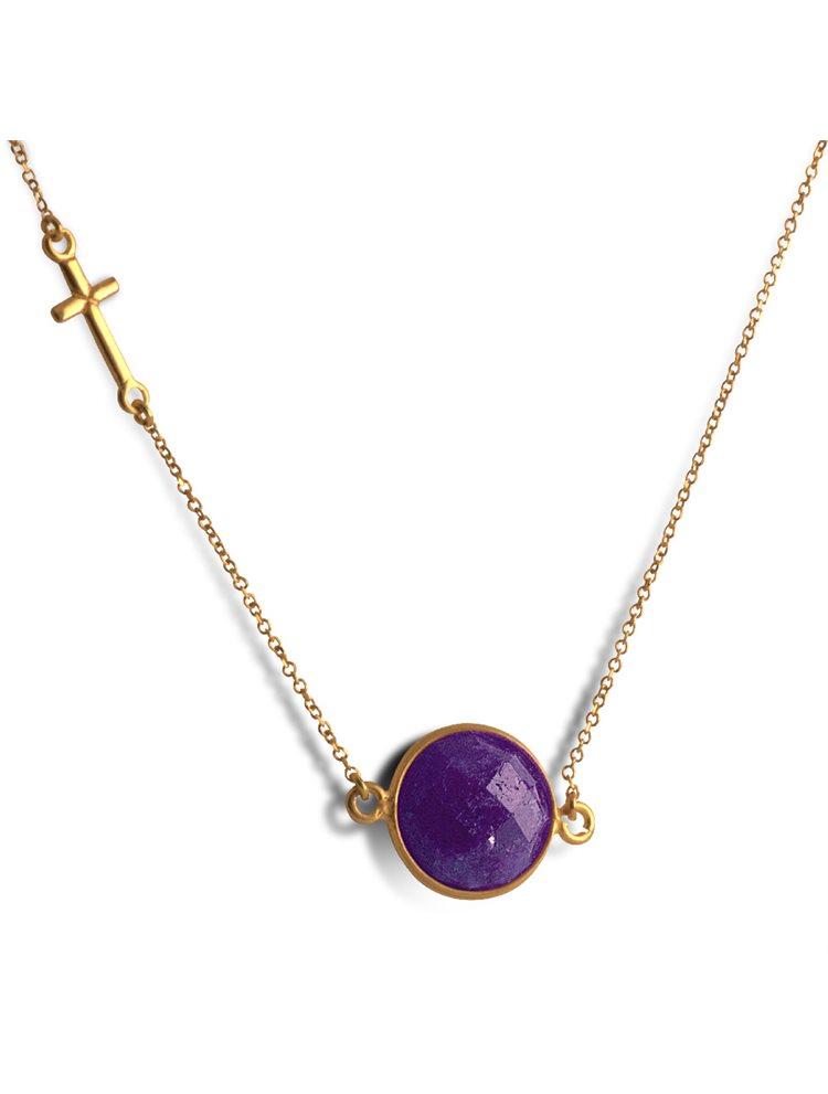 Κολιέ από επιχρυσωμένο ασήμι με ορυκτό αμέθυστο και σταυρό