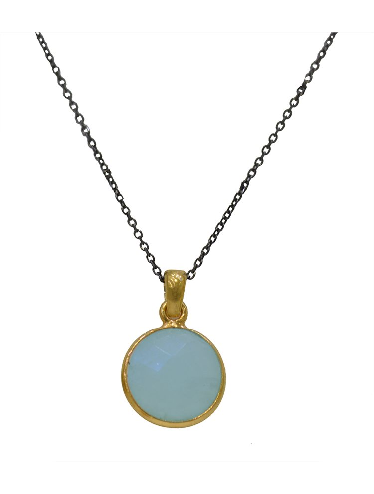 Κολιέ από μαύρο επιπλατινωμένο ασήμι με πέτρα blue chalkedony