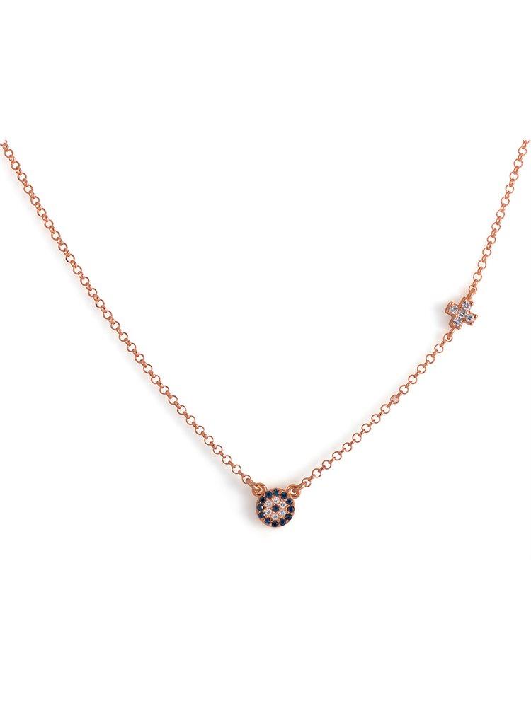 Κολιέ με ματάκι και σταυρουδάκι από ασήμι 925 - Ροζ