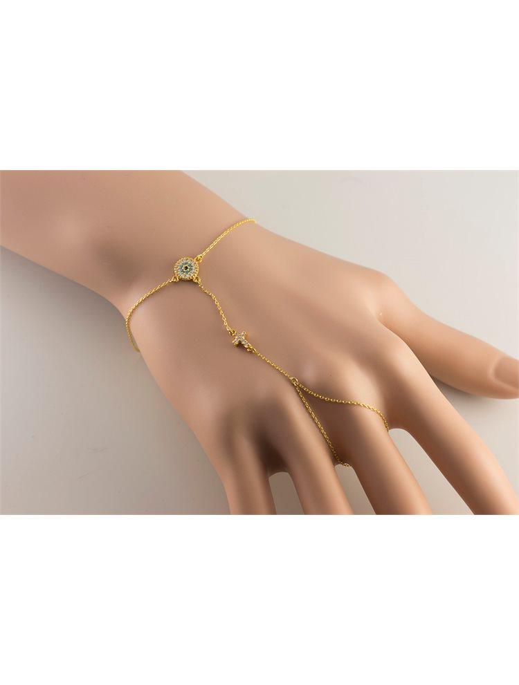 Βραχιόλι δαχτυλίδι που ενώνεται με αλυσίδα από επιχρυσωμένο ασήμι με ματάκι και σταυρό