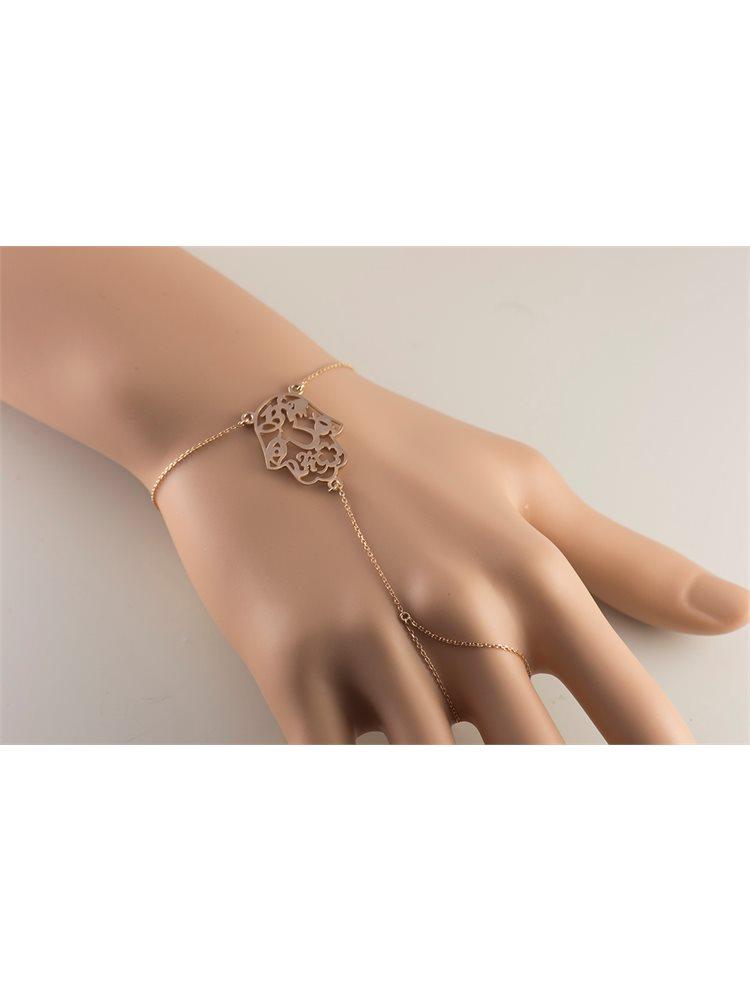 Βραχιόλι δαχτυλίδι που ενώνεται με αλυσίδα από ρόζ επιχρυσωμένο ασήμι με στοιχείο Hamsa
