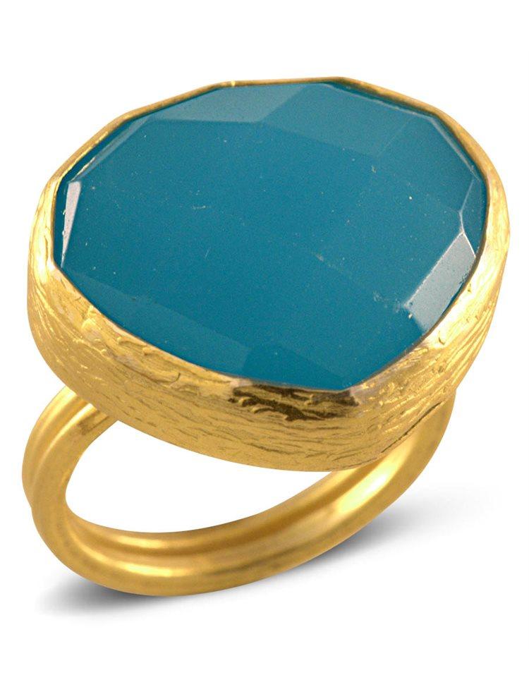 Δαχτυλίδι melita από επιχρυσωμένο ασήμι με πέτρα Blue Chalcedony