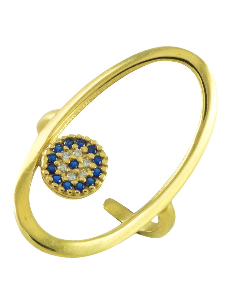 Δαχτυλίδι οβάλ από επιχρυσωμένο ασήμι με ματάκι