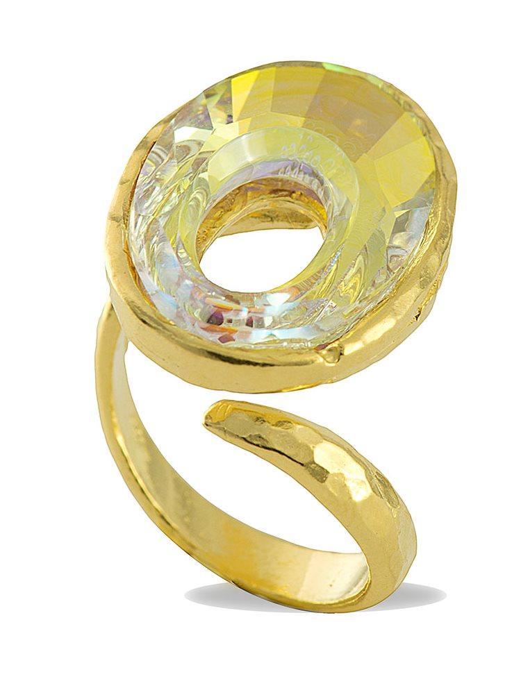 Δαχτυλίδι ασημένιο 925 με πέτρα Swarovski - Επίχρυσο