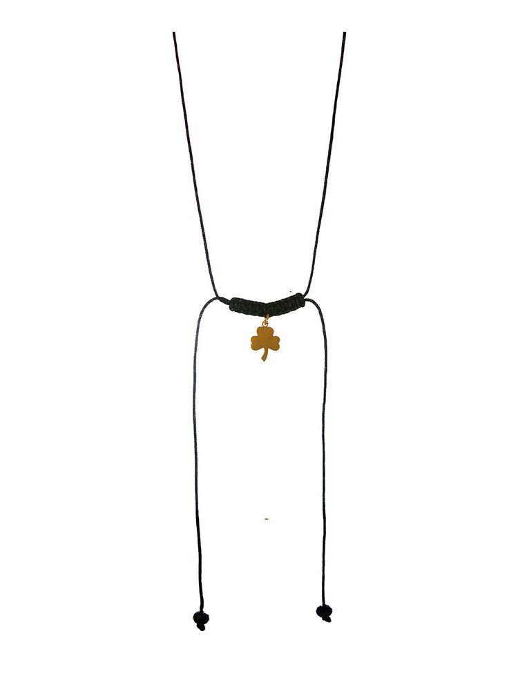 Χειροποίητο κολιέ macrame με τετράφυλλο από επιχρυσωμένο ασήμι 925