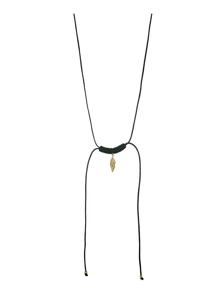 Χειροποίητο κολιέ macrame με φτερό από επιχρυσωμένο ασήμι 925