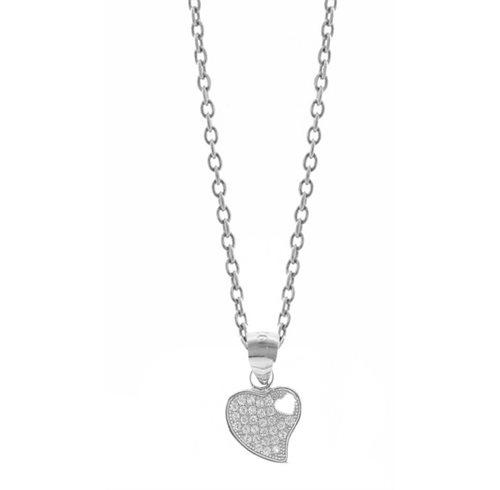 Κολιέ ασημένιο με καρδιά και πέτρες ζιργκόν
