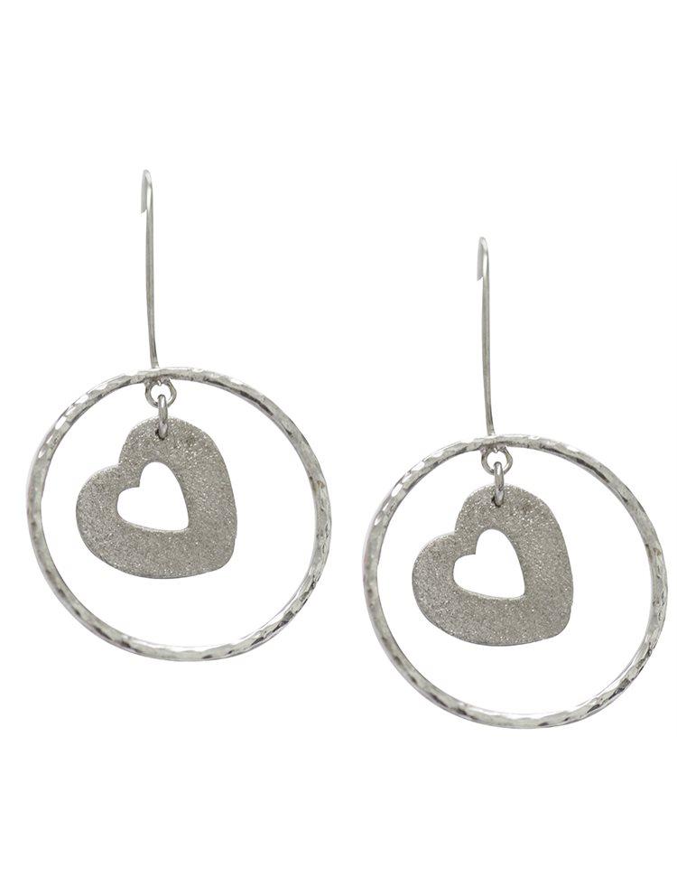 Σκουλαρίκια κρεμαστά ασημένια με καρδιές