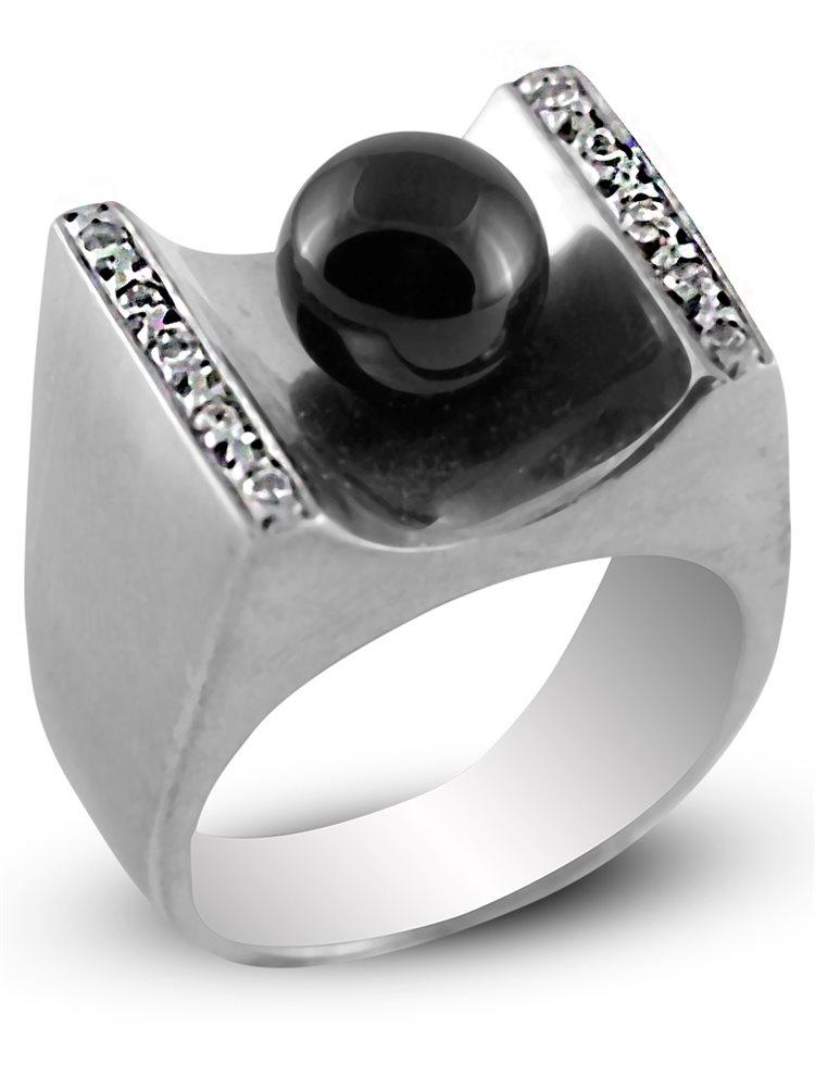 Ασημένιο Δαχτυλίδι με πέτρα όνυχα και ζιργκόν