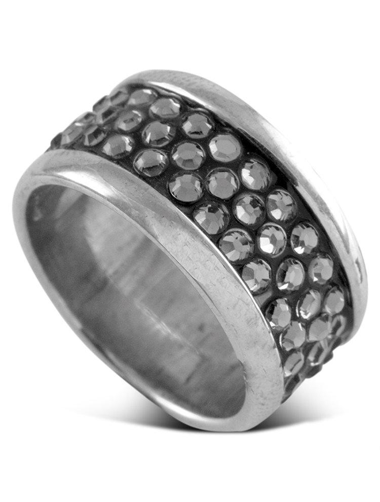 Ασημένιο ολόβερο δαχτυλίδι με πέτρες Swarovski