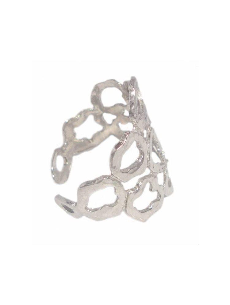 Ασημένιο χειροποίητο δαχτυλίδι διάτριτο