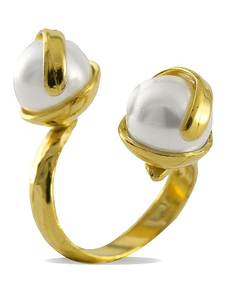 Δαχτυλίδι ασημένιο 925 επιχρυσωμένο με πέρλες